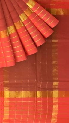 Brick Red Cotton Saree with Bright Pink and Golden Border-yespoho