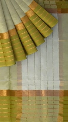 Silver Cotton Saree with Light Green and Golden Border-yespoho