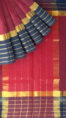 Maroon Cotton Saree with Black and Golden Border-yespoho