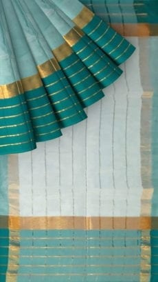 Light Teal Cotton Saree With Dark Teal And Golden Border-yespoho