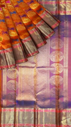 Orange Pure Kanchipuram Silk Saree With Animal Design-yespoho