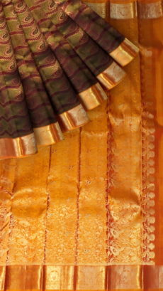 Green And Burgundy Kanchipuram Silk Saree With Embossed Zari Design-yespoho