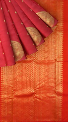Tomato Red With Zari Butta Pure Zari Kanchipuram Silks Saree-yespoho