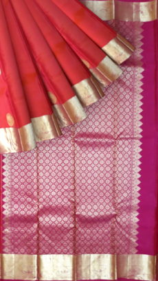 Kanchipuram Silks Saree Rose-Orange Color With Magenta Pallu-yespoho