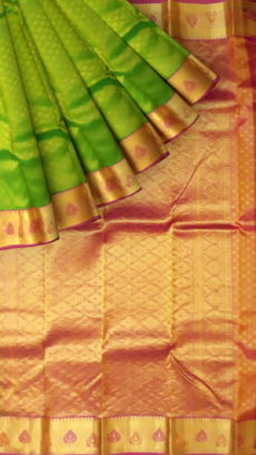 Green With Baby Pink Zari Work Kanchipuram Silks Saree-yespoho