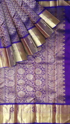 Violet Color With Rich Zari Butta And Morning/Evening Zari Border Pure Zari Kanchipuram Silks Saree-yespoho