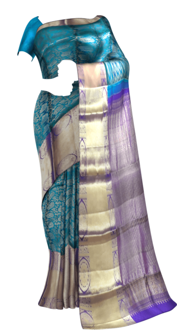Sapphire & Purple Color Kanchipuram Pure Silk Saree Limited Edition Yespoho Sarees New Arrivals Kanchipuram Silk Sarees
