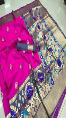 Purple Pure Silk Meenakari Saree-yespoho