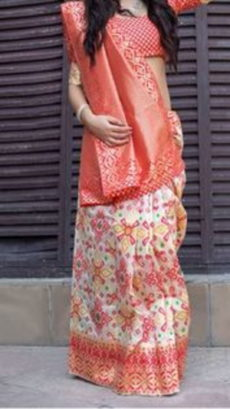 Coral Red Block Printed Maheshwari Silk Saree-yespoho