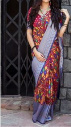 Red Block Printed Maheshwari Silk Saree-yespoho