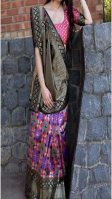 Purple Pink Block Printed Maheshwari Silk Saree-yespoho