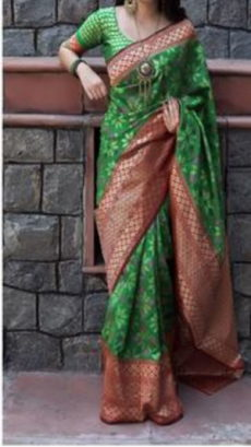 Green Block Printed Maheshwari Silk Saree-yespoho