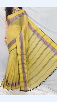Yellow Soft Cotton Saree With Design Pattern-yespoho