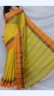 Yellow Plain Patterned Sarees great for every occasions-yespoho
