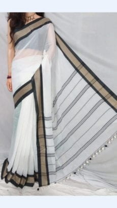 White Plain Pattern Soft Cotton Saree For Every Occasions-yespoho
