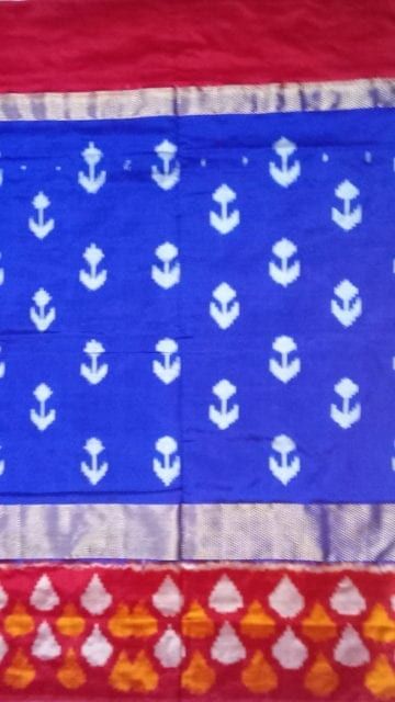 Yespoho ikat kaddiborder with allover anchor design blue saree
