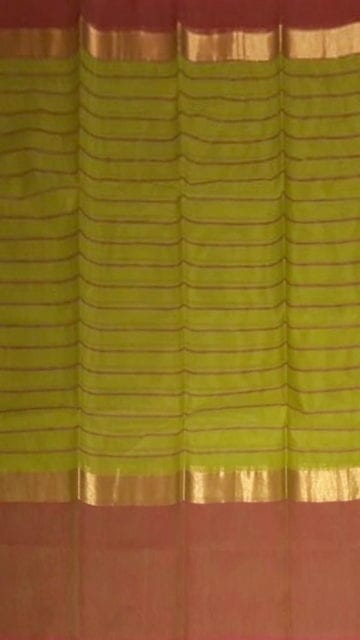Yespoho Striped Olive Green Cotton Saree with Rust Red and Golden Border