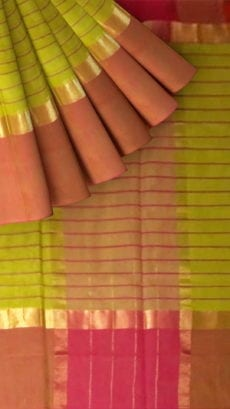 Striped Olive Green Cotton Saree with Rust Red and Golden Border-yespoho