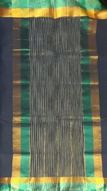 Gold Space Blue Cotton Saree with Light Jade Green and Golden Border