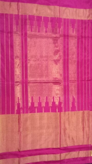 Bright Pink ikat special half tissue saree with elephant and sparrow design