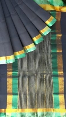 Space Blue Cotton Saree with Light Jade Green and Golden Border-yespoho