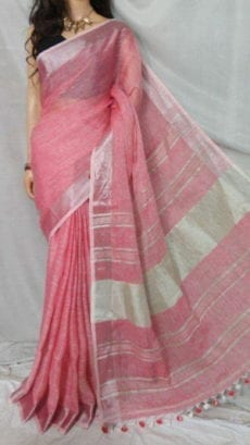 Flamingo Pink Linen Saree with Striped Pallu perfect for occassions-yespoho