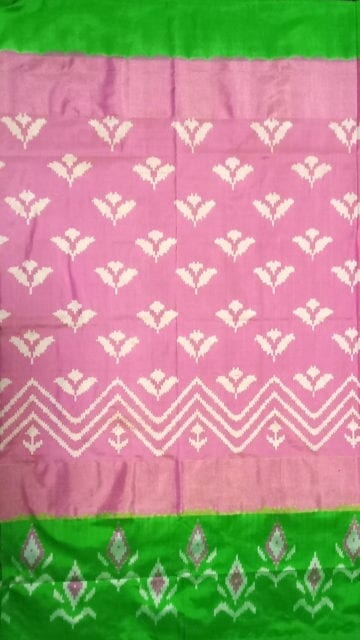 Yespoho ikat baby pink body with allover flower design and green designed border