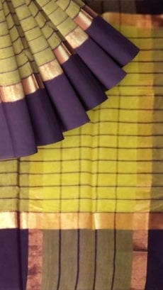 Striped Light Army Green Cotton Saree with Navy Blue and Golden Border-yespoho