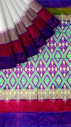 ikat gangajamuna border saree with and kaddi border pallu blouse design-yespoho
