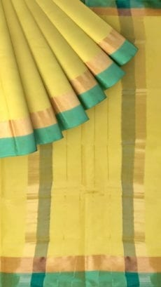 Royal Yellow Cotton Saree with Light Jade Green and Golden Border-yespoho