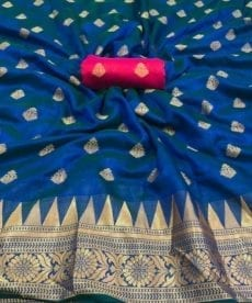 Dark Blue Soft Silk Saree With Temple Design-yespoho