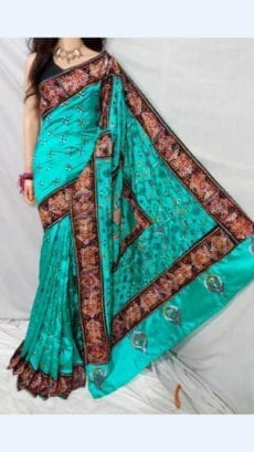 Green Colour Batik Cotton Saree with Brown Border-yespoho