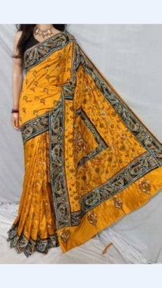 Yellow Colour Batik Cotton Saree with Brown Border-yespoho