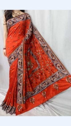 Orange Colour Batik Cotton Saree with Brown Border-yespoho