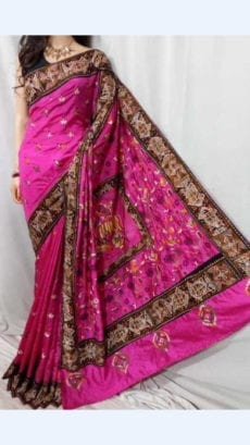Dark Pink Colour Batik Cotton Saree with Brown Border-yespoho