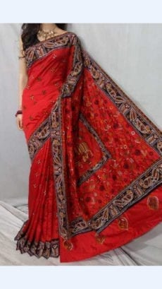 Red Colour Batik Cotton Saree with Brown Border-yespoho