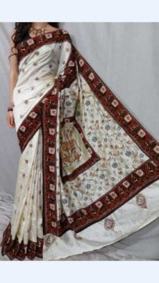 Cream Colour Batik Cotton Saree with Brown Border-yespoho