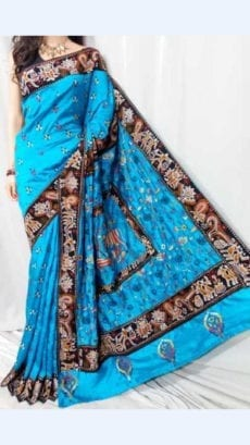 Light Blue colour Batik Cotton Saree with Brown Border-yespoho