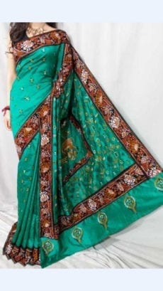 Green Batik Cotton Saree with Brown Border-yespoho