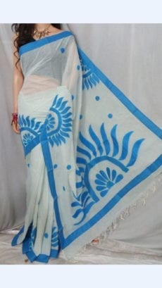 Striped White Colour cotton saree with Light Blue Colour Applique work-yespoho