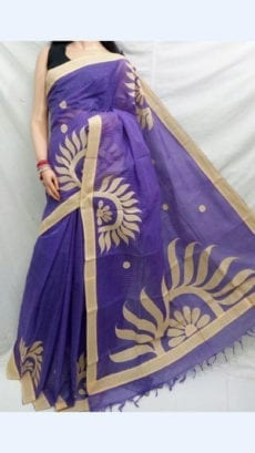 Striped Purple Colour cotton saree with Cream Colour Applique work-yespoho