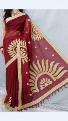 striped Maroon Colour cotton saree with Cream Colour Applique work-yespoho