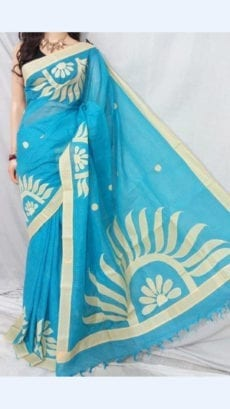 Light Blue Colour cotton saree with off White Colour Applique work-yespoho