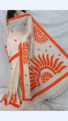 White Colour cotton saree with Orange Colour Applique work-yespoho