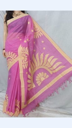 Light Pink Colour cotton saree with Cream Colour Applique work-yespoho