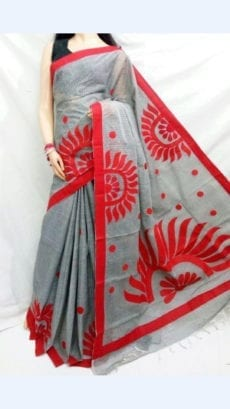 Striped Grey Colour cotton saree with Red Colour Applique work-yespoho