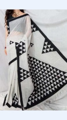 Striped Off White Colour cotton saree with Black Colour Applique work-yespoho