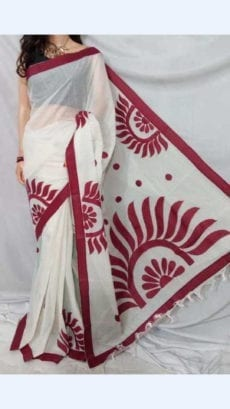 Off White Colour cotton saree with Maroon Colour Applique work-yespoho