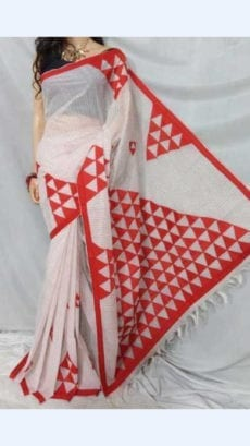 Striped Off White Colour cotton saree with Red Colour Applique work-yespoho