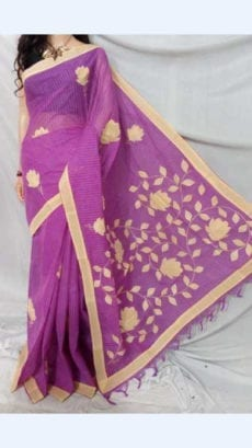 Purple Colour cotton saree with cream Colour Applique work-yespoho
